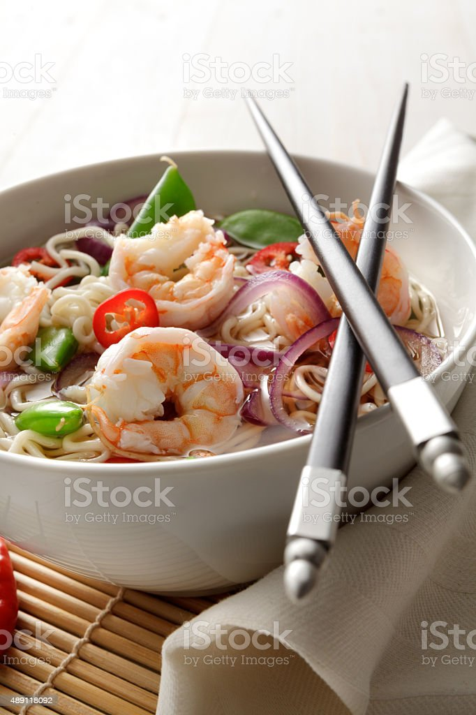 Asian Stills: Noodle Soup with Shrimp, Onion, SugarSnap and Pepper stock photo