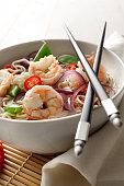 Asian Stills: Noodle Soup with Shrimp, Onion, SugarSnap and Pepper
