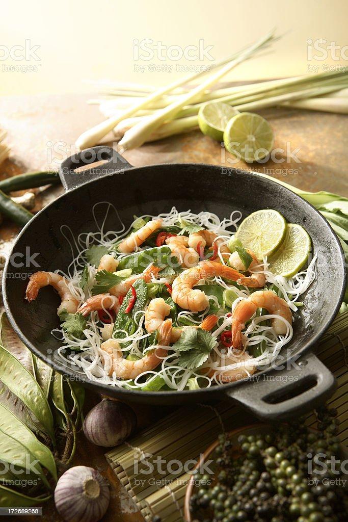 Asian Stills: Stir Fried Shrimps and Noodles in Wok stock photo