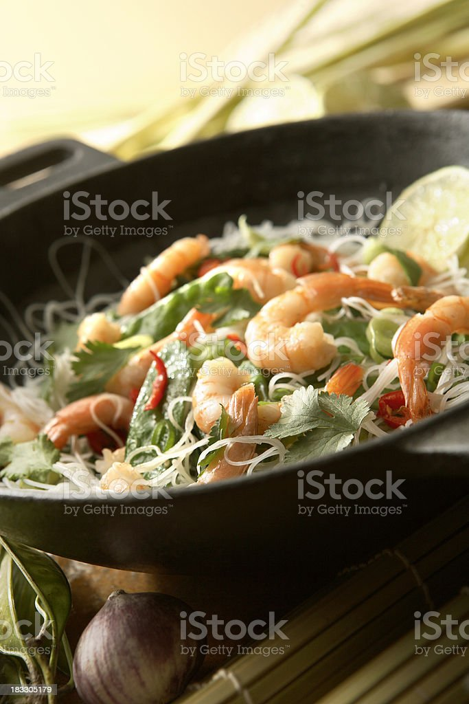 Asian Stills: Stir Fried Shrimps and Noodles in Wok royalty-free stock photo