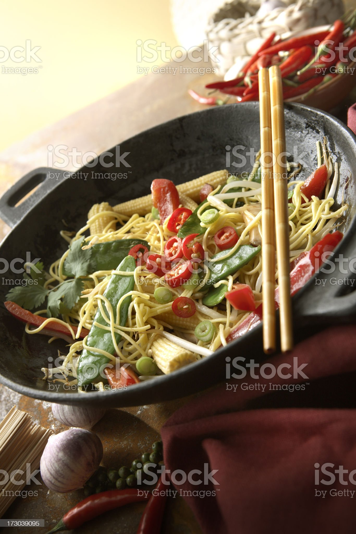 Asian Stills: Stir Fried Vegetables and Noodles royalty-free stock photo