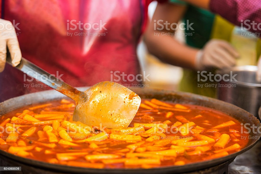Asian street food - people cooking some food in Seoul stock photo
