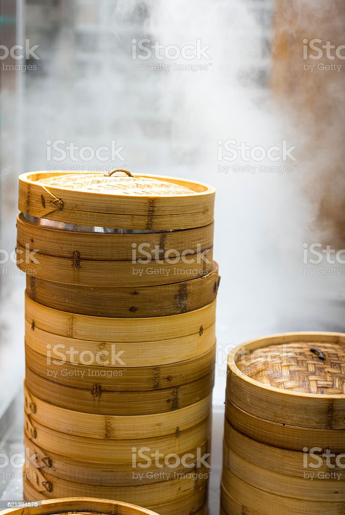 Asian street food - steamed dumplings stock photo