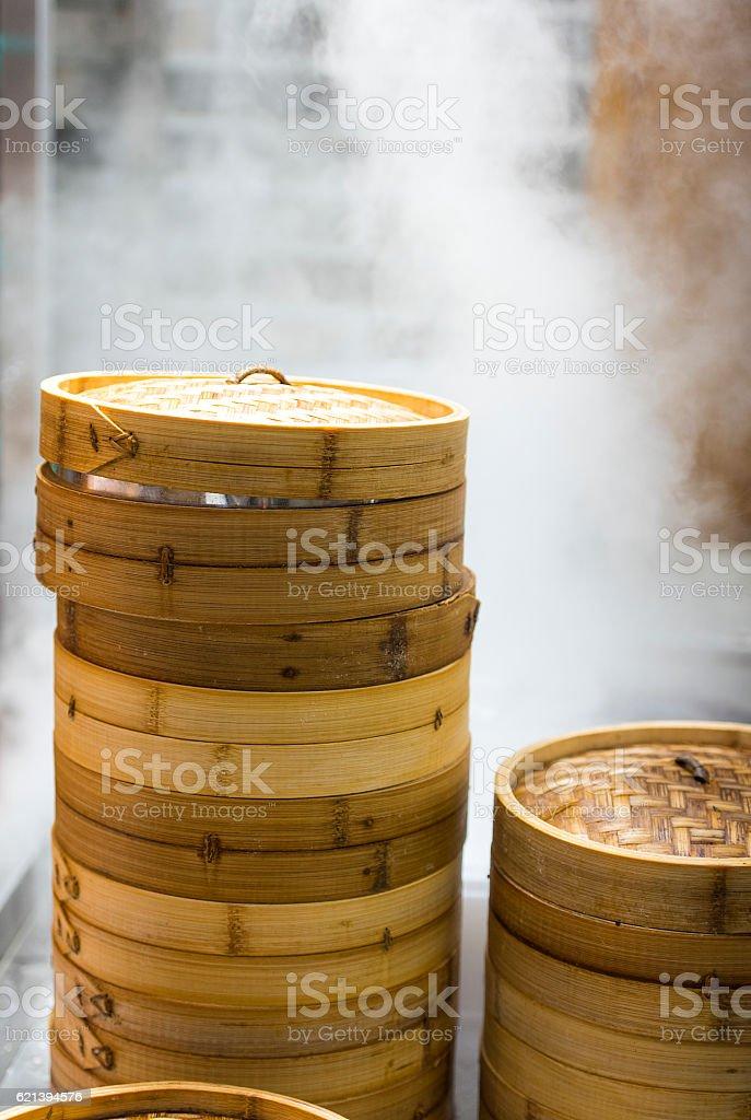 Asian street food - steamed dumplings stock photo