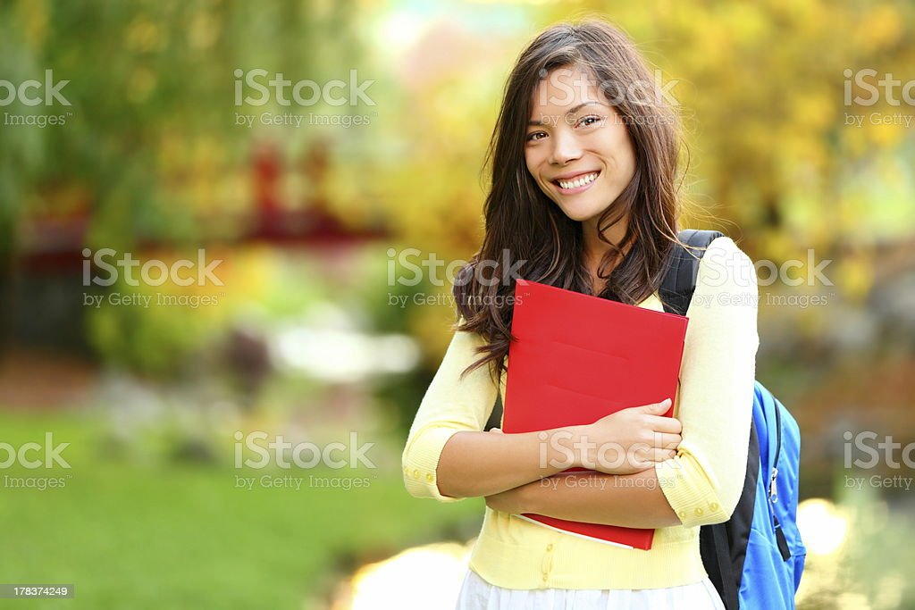 Asian student girl on campus royalty-free stock photo