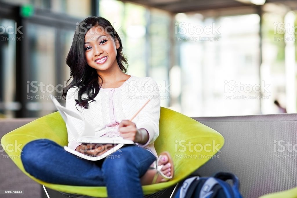 Asian student on campus stock photo