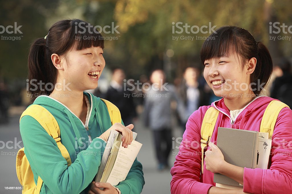 asian students enjoy their day and sunshine royalty-free stock photo