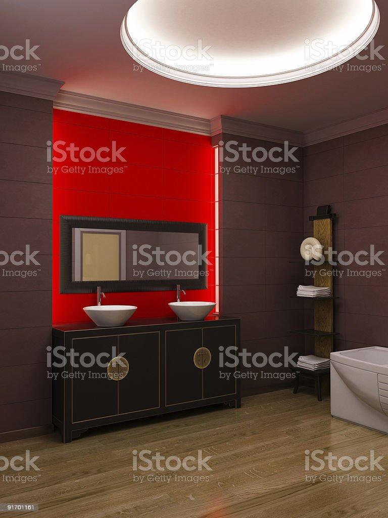 Asian style bathroom interior royalty-free stock photo