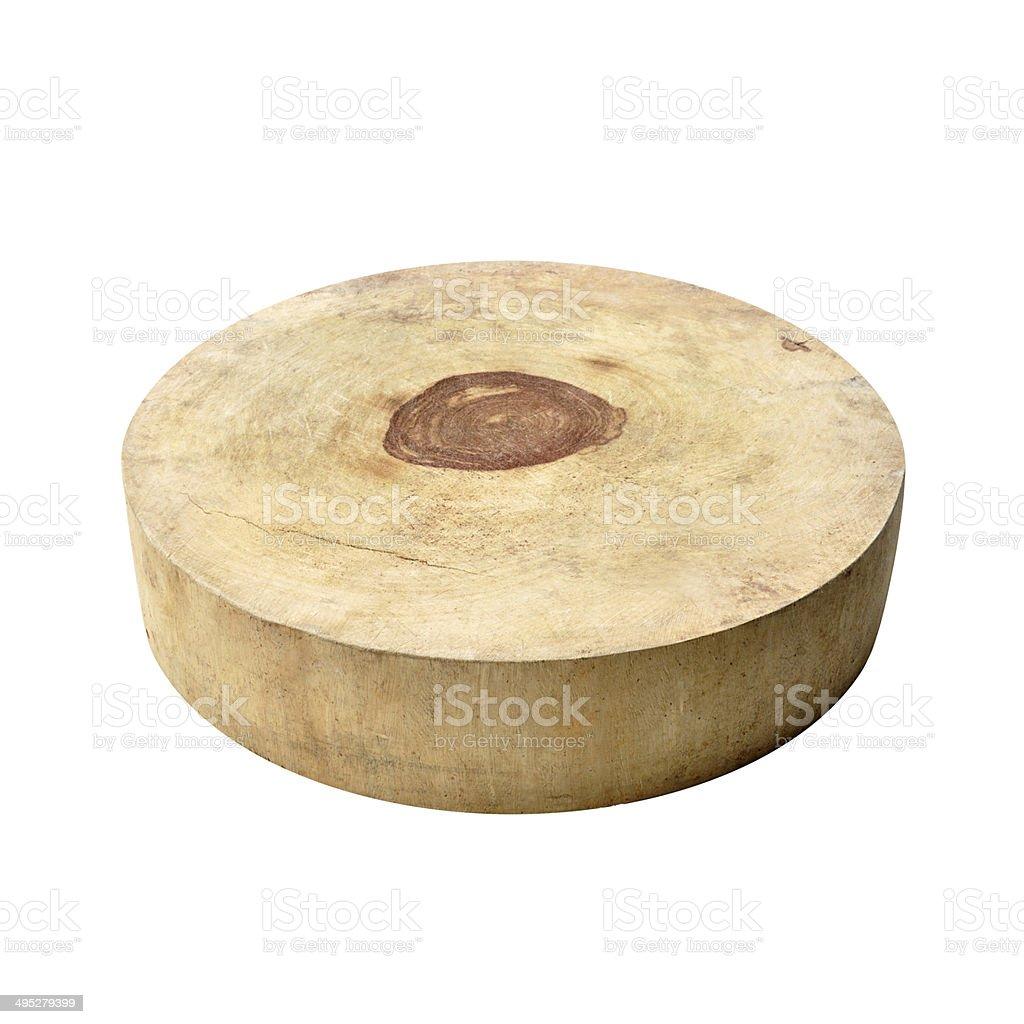 Asian style circle wood chopping block - isolated on white stock photo
