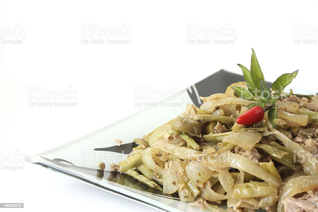 Asian style dish with vegetables and tuna fish royalty-free stock photo