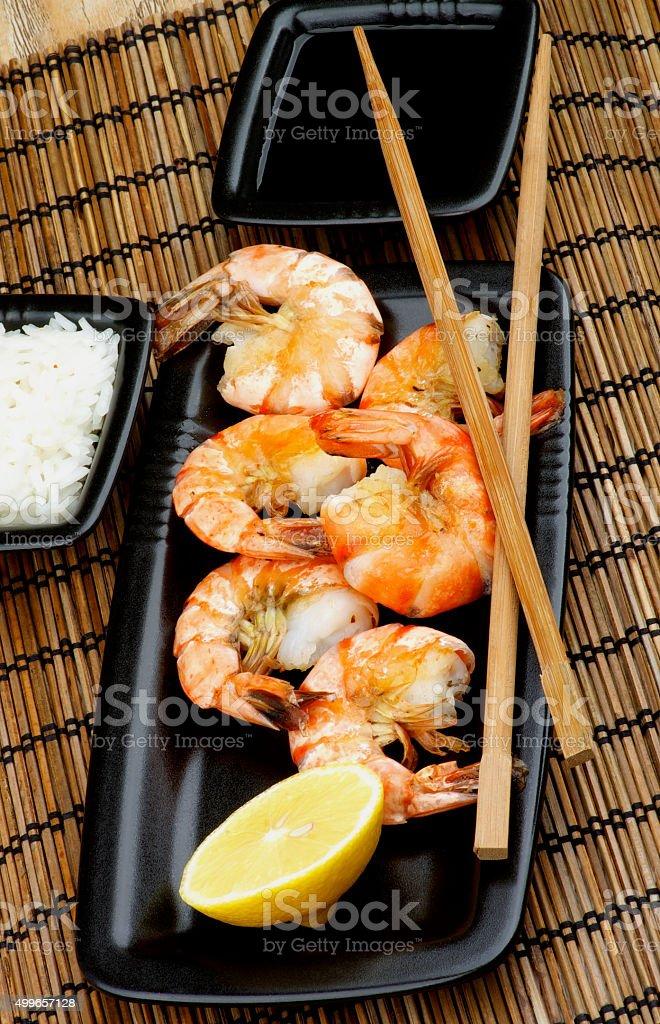 Asian Style Roasted Shrimps stock photo