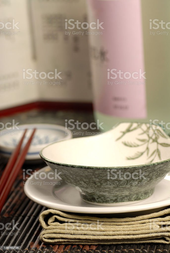 Asian style table setup with sake royalty-free stock photo