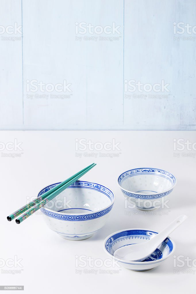 Asian style tableware stock photo