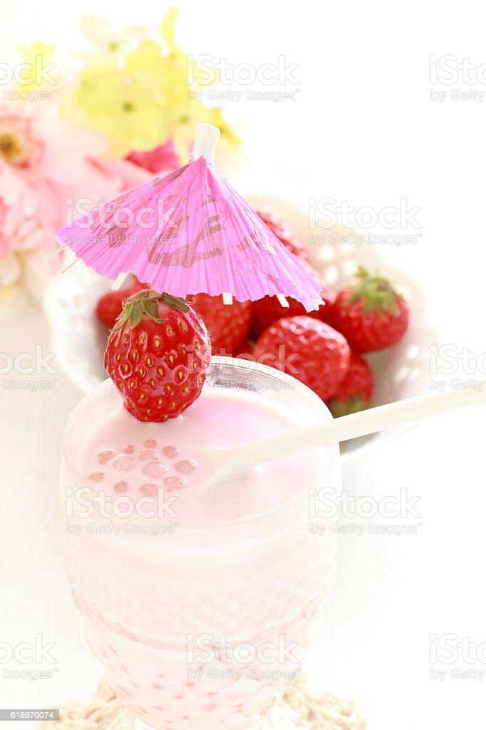 asian sweet drink, strawberry in tapioca milk stock photo