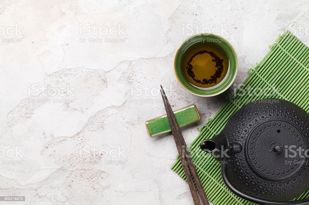 Asian tea bowl and teapot stock photo