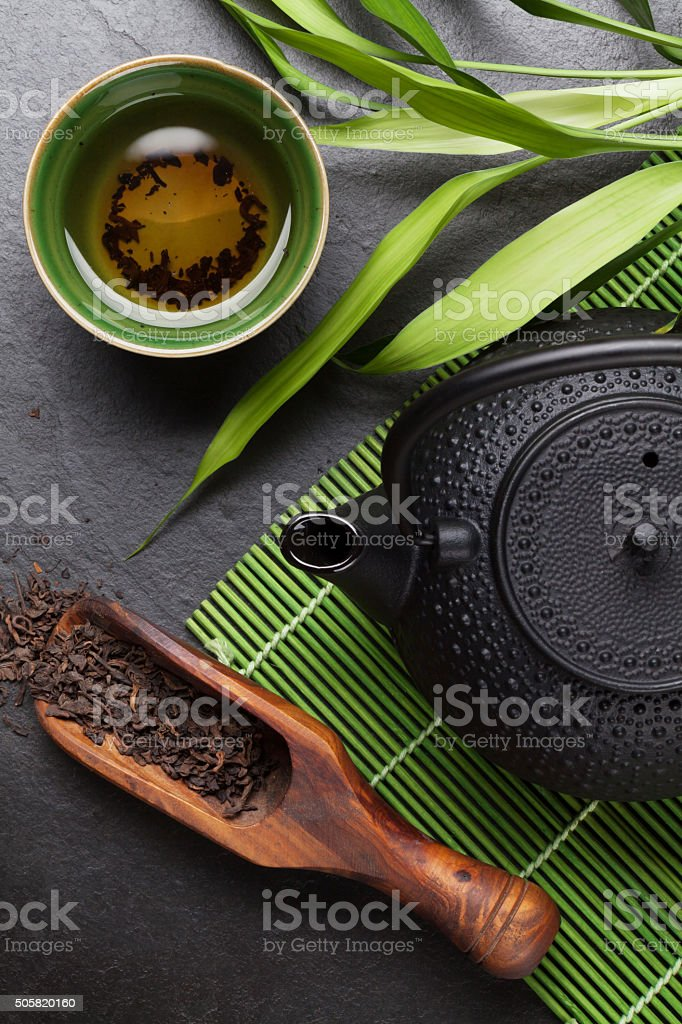 Asian tea bowl and teapot stock photo