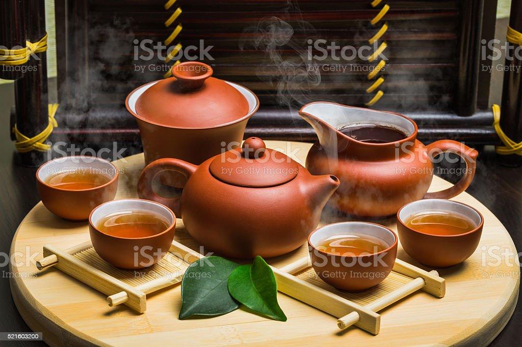 asian tea set,vintage style stock photo
