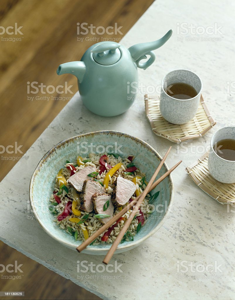 Asian tea with pork and rice. stock photo