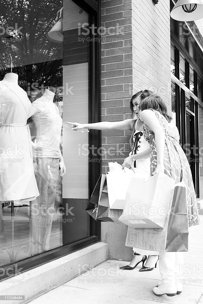 Asian Teenage Girl Friends Window Shopping, Black and White royalty-free stock photo