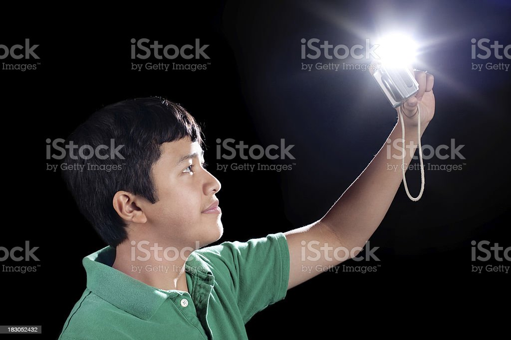 Asian Teenager with Digital Camera Taking Self Portrait royalty-free stock photo
