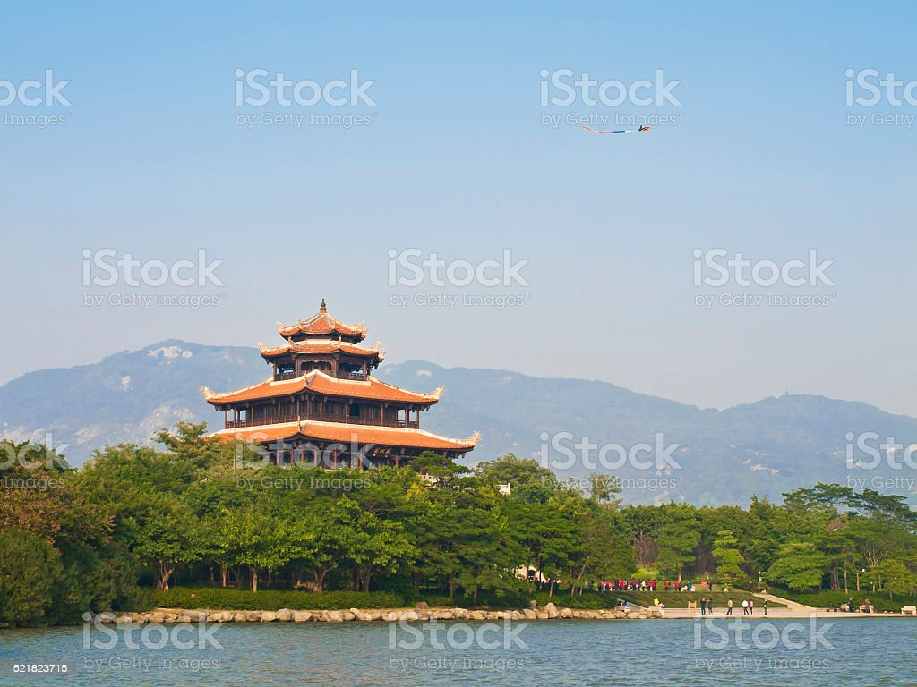 asian temple and kite stock photo
