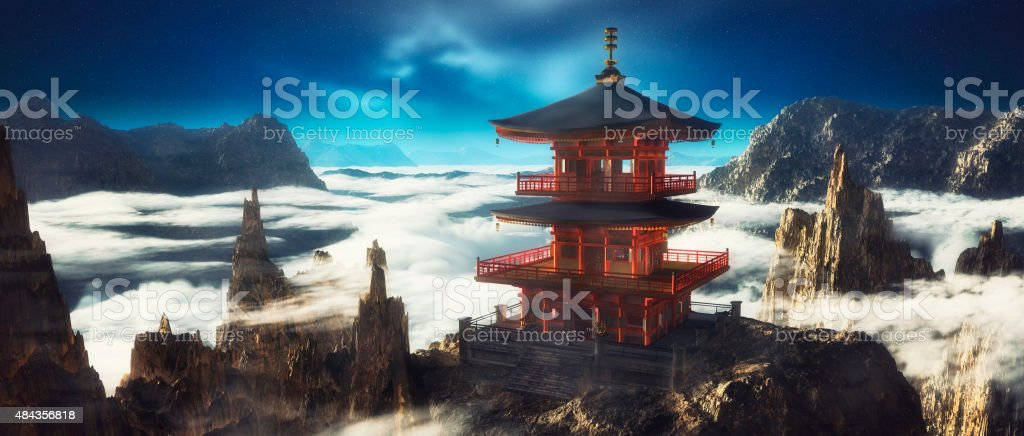Asian temple on mountain top stock photo
