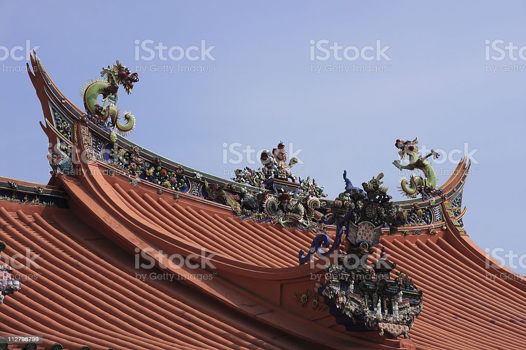 Asian Temple Roof with Chinese Dragon royalty-free stock photo
