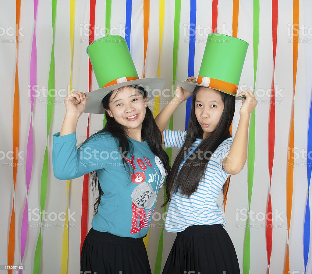 Asian Thai girls on St.Patrick's Day stock photo