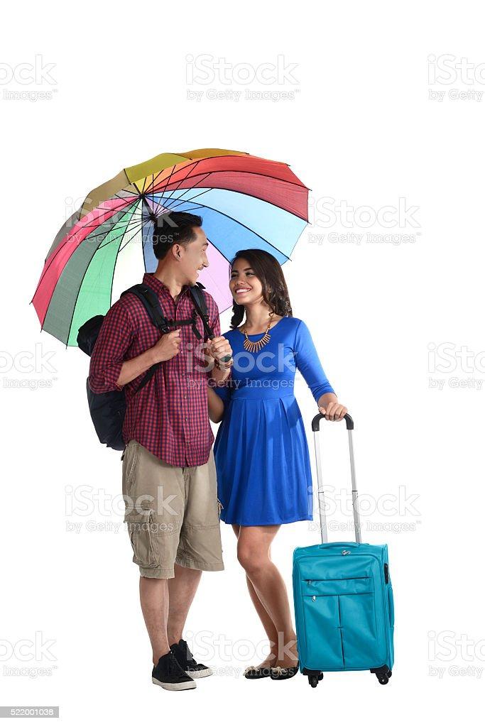 Asian Tourist Couple Smiling stock photo