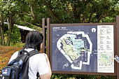 Asian tourist looking at  map of East Gardens Imperial Palace