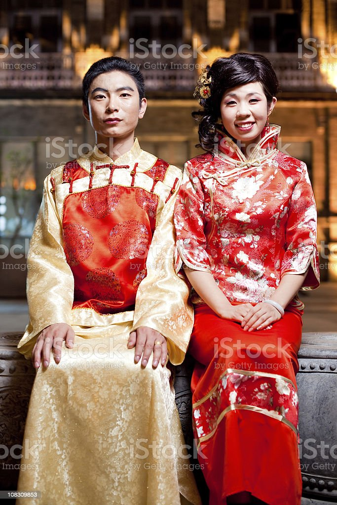 Asian traditional couple royalty-free stock photo