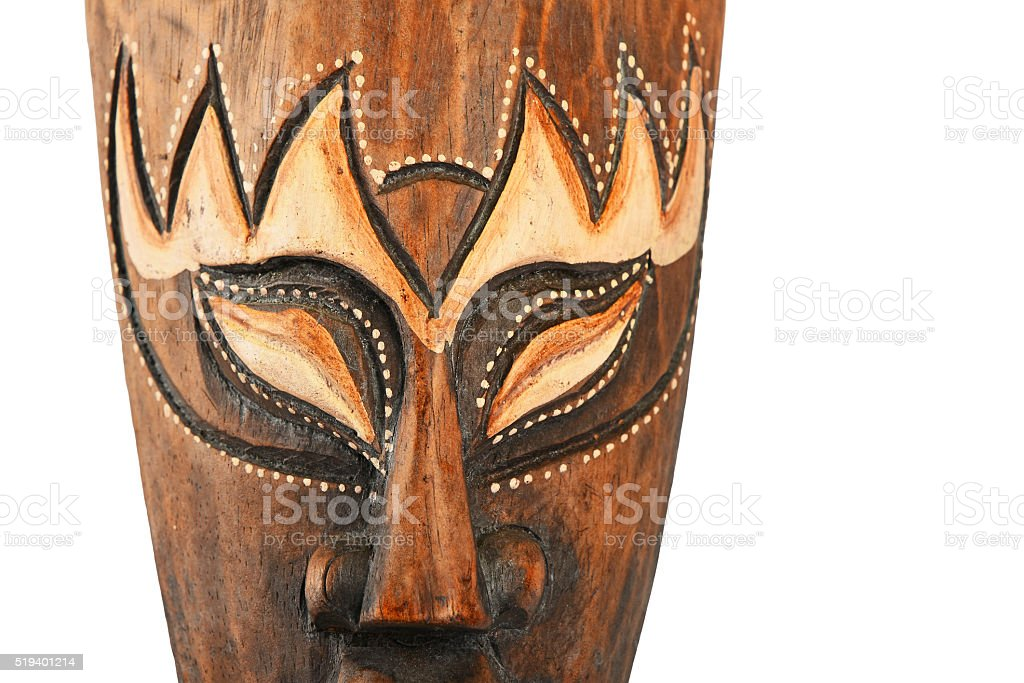 Asian traditional wooden painted brown mask royalty-free stock photo