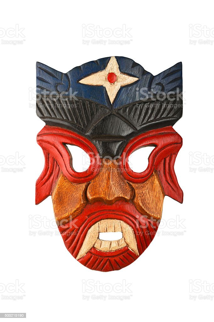 Asian traditional wooden painted mask isolated on white royalty-free stock photo