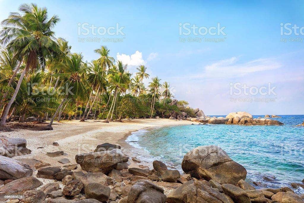 Asian tropical beach paradise in Thailand stock photo