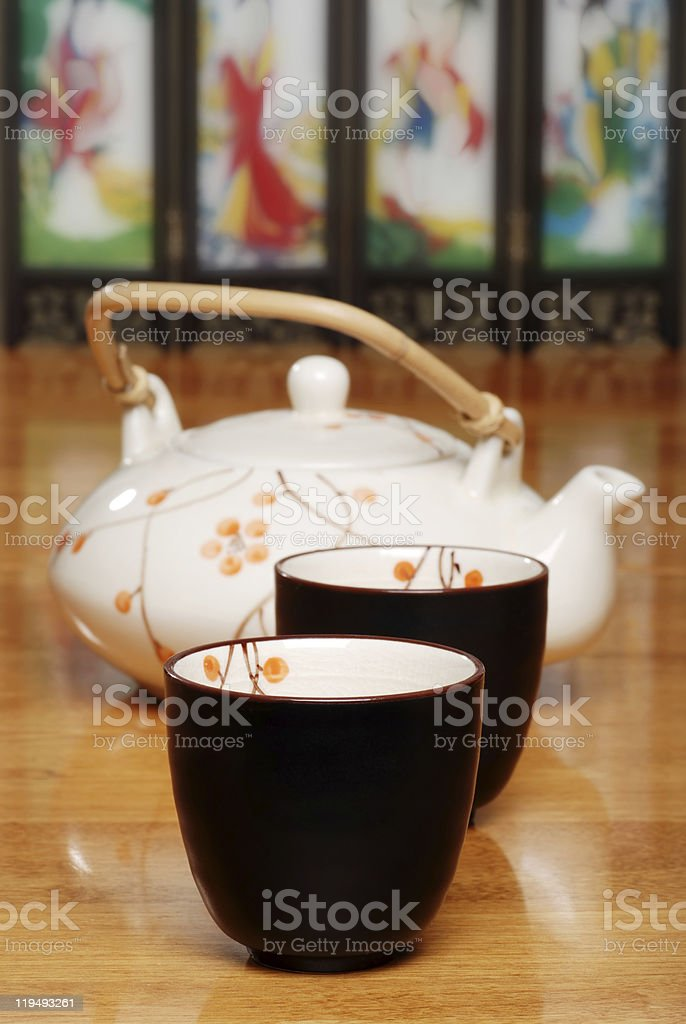 asian two cups and tea pot royalty-free stock photo