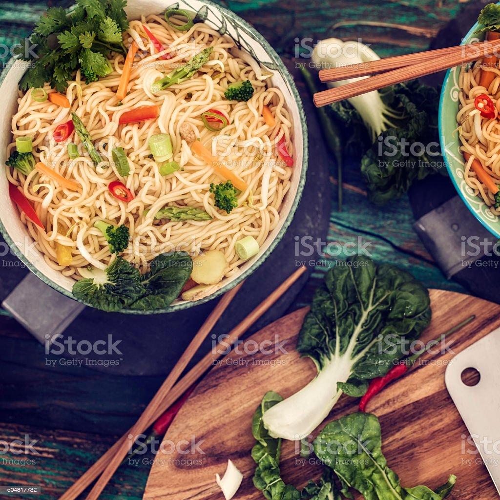 Asian Vegetable Noodle Stir Fry stock photo