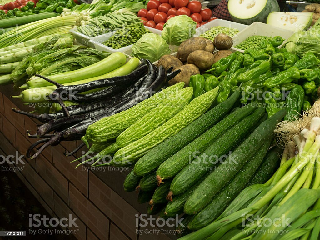 Asian vegetables in the market stock photo