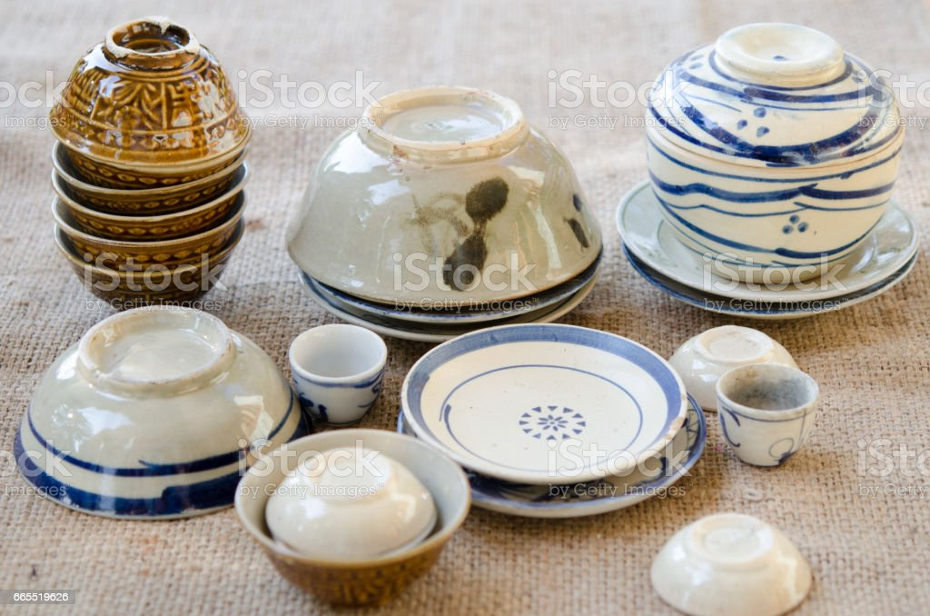 Asian vintage tableware. It's made by clay and very common in southeast Asia stock photo