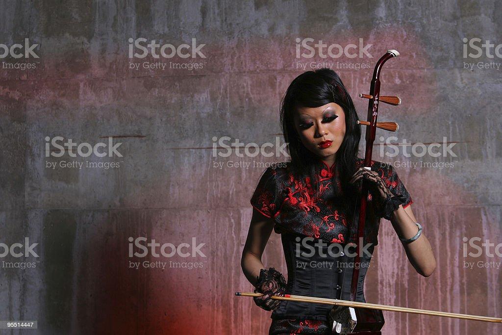 Asian Violin Player stock photo