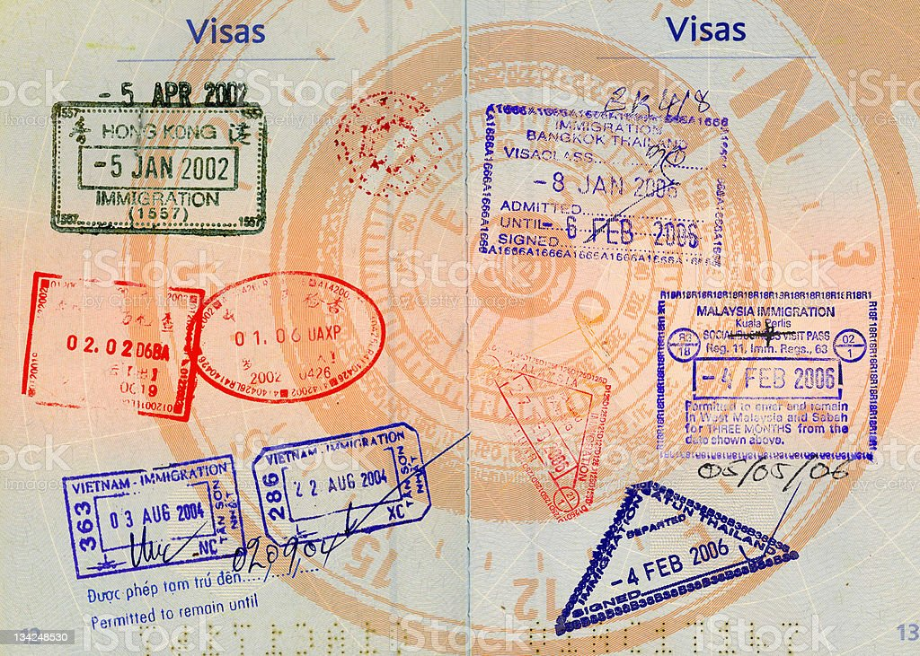 asian visas on compass background royalty-free stock photo