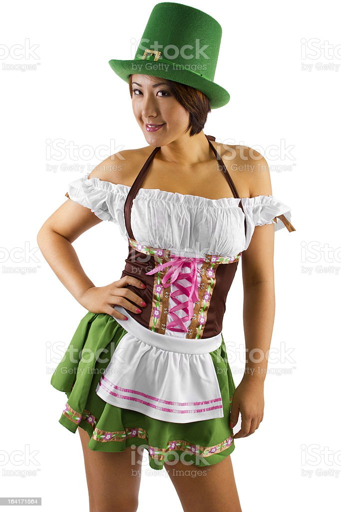 Asian Waitress or Bartender in St Patrick's Day Costume royalty-free stock photo