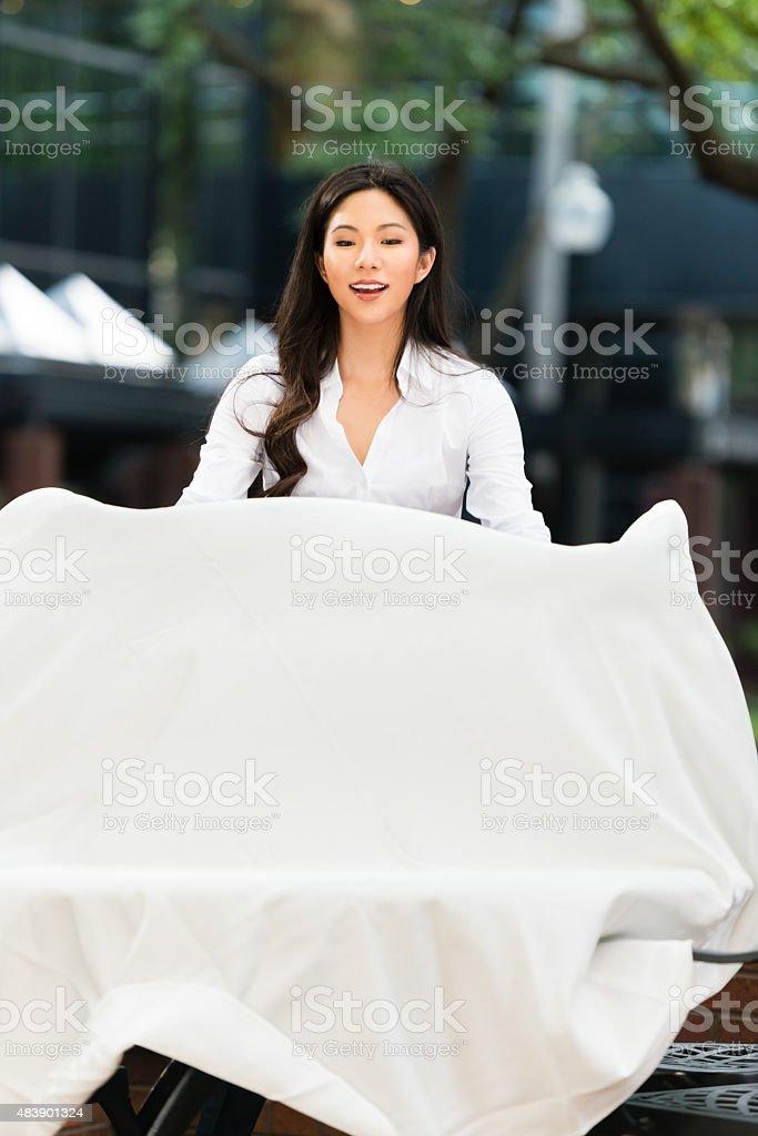 Asian Waitress Outdoor Restaurant stock photo