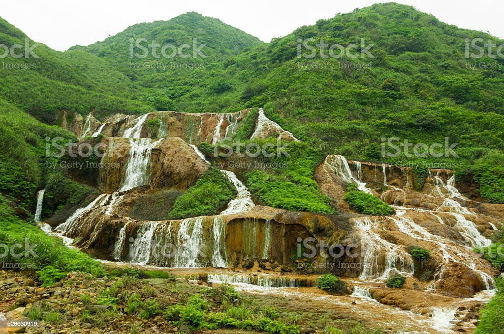 asian waterfall in taiwan stock photo