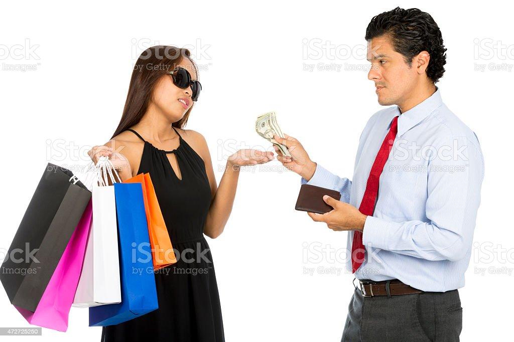 Asian Wife Shopping Demanding More Cash  Husband stock photo