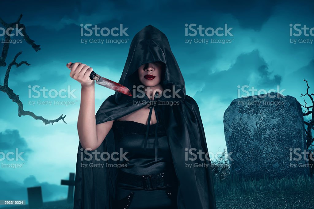 Asian witch woman holding stock photo
