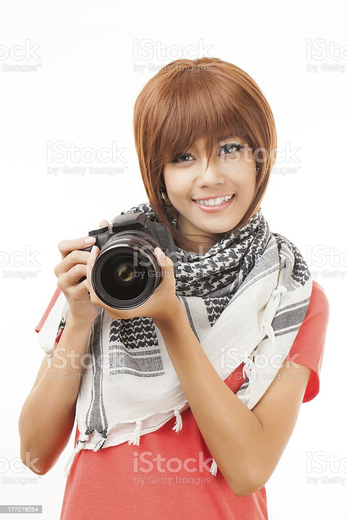 Asian woman and camera royalty-free stock photo