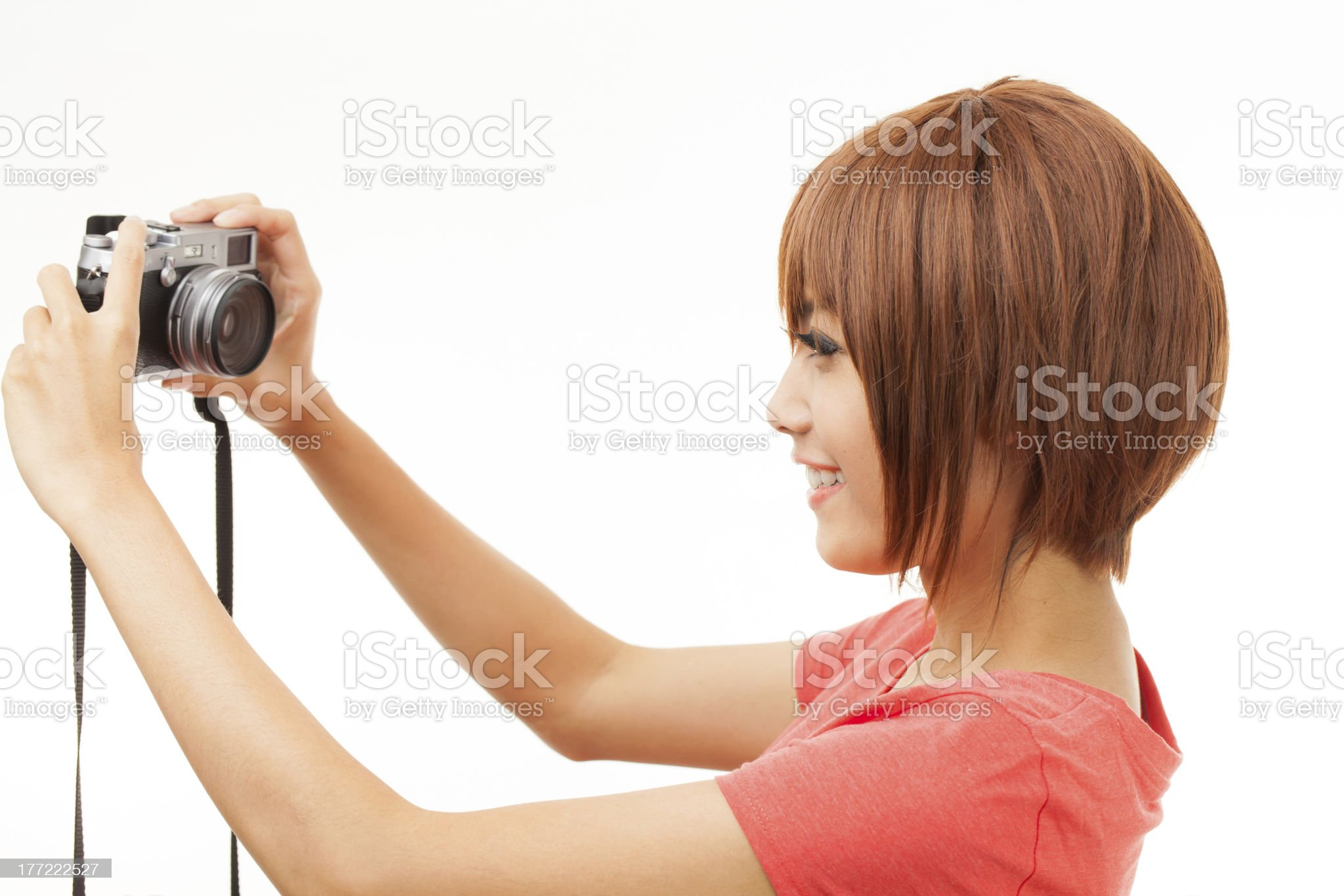 Asian woman and camera royalty-free stock photo