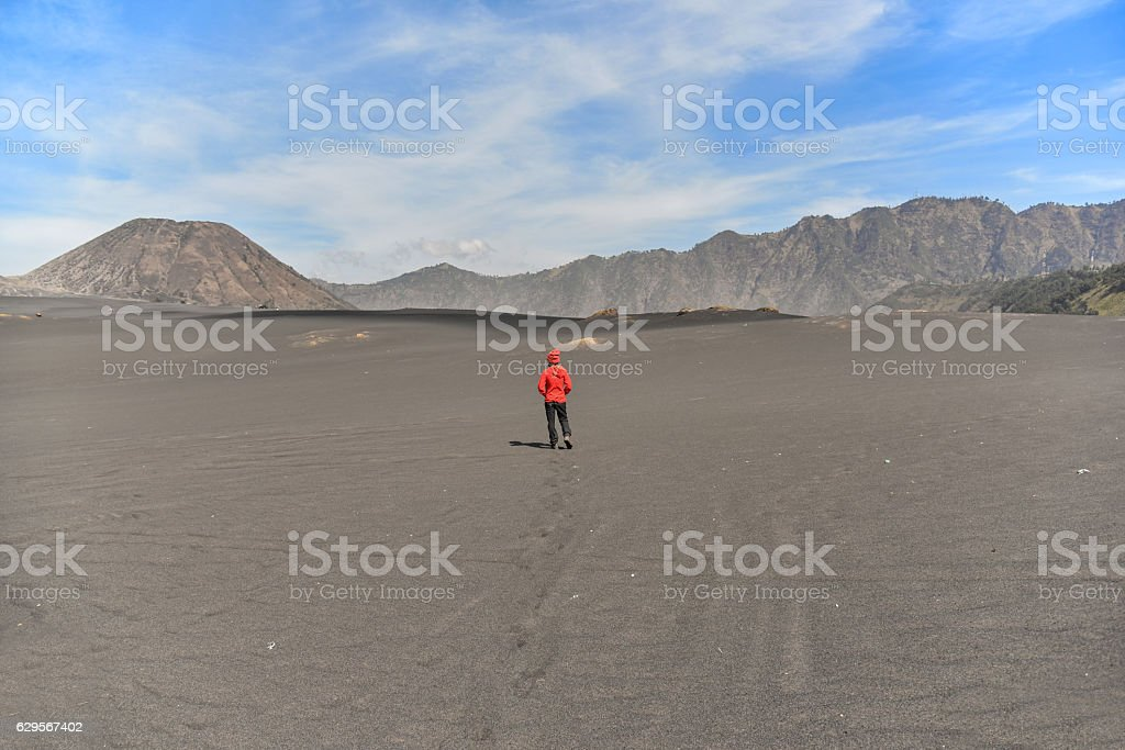 Asian woman at whispering sands stock photo
