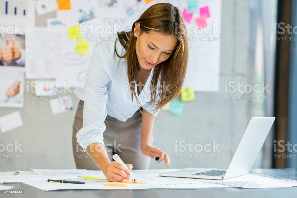 Asian woman business planning stock photo