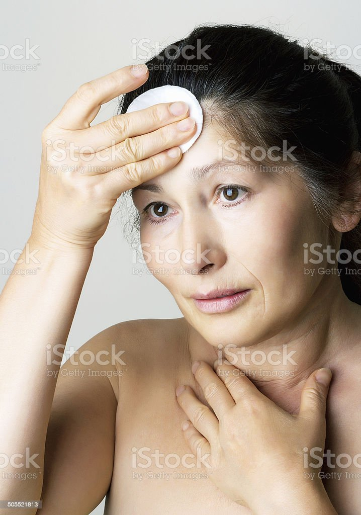 Asian woman clean face. stock photo